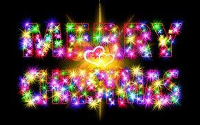 Picture light, lights, lights, letters, the inscription, color, vector, heart, lights, Christmas, hearts, New year, chain, ...