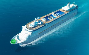 Picture The ocean, Sea, Liner, The ship, The view from the top, Rendering, Passenger ship, Passenger ...