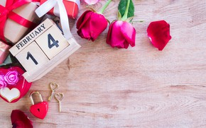 Picture flowers, gift box, red, flowers, gift, red, bouquet, hearts, hearts, roses, romantic, valentine's day, roses, …
