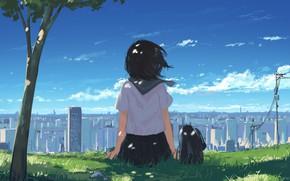 Picture girl, the city, tree, hill, school uniform
