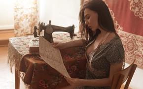 Picture girl, seamstress, sewing machine, Vladislav Opletaev