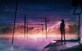 Picture girl, fog, station