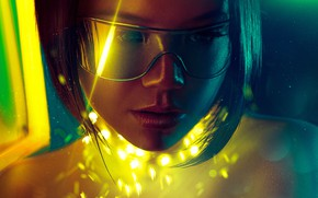 Picture look, girl, glasses, girl, cyborg, look, glasses, the world of the future, cyborg, fantastic art, …