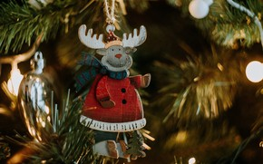 Picture winter, branches, lights, holiday, toy, toys, deer, Christmas, New year, tree, garland, needles, figure, bokeh, …