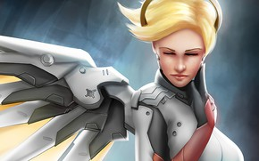 Picture girl, Blonde, Overwatch, Mercy