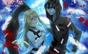 Picture look, girl, blood, braid, guy, Angel bloodshed, Satsuriku no Tenshi