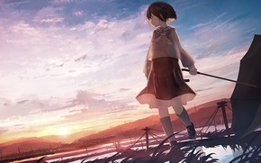 Picture the sky, girl, the evening, anime, morning, art