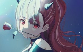 Picture girl, blood, rose, the demon, horns, horns
