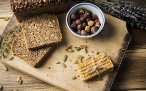Picture food, bread, nuts, cakes, cutting Board