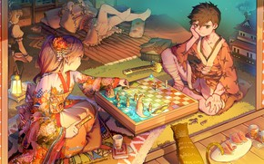 Picture Girls, Room, Chess, Guy