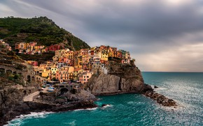 Picture sea, the city, Italy, Manarola