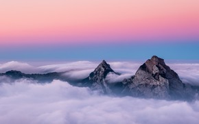 Picture Switzerland, trees, landscape, nature, sunset, mountains, clouds, mist, peaks, far view