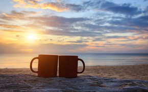 Wallpaper sea, beach, summer, the sky, sunset, shore, coffee, pair, Cup, summer, two, beach, sky, sea, ...