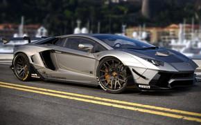 Picture Auto, Lamborghini, Machine, Grey, Car, Auto, Render, Aventador, Lamborghini Aventador, Rendering, Supercar, Sports car, Sportcar, …