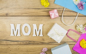Picture flowers, gifts, congratulations, composition, Mother's Day