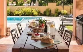 Picture Villa, food, beer, bread, fruit, vegetables, terrace, olives, olive oil, Crete, terrace and table, Villa …