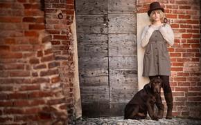 Picture girl, wall, dog, Labrador Retriever