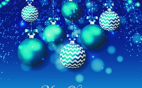 Picture decoration, balls, New year, Christmas, bokeh