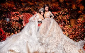 Wallpaper flowers, girls, sofa, two, roses, garden, outfit, white, Duo, luxury, a lot, Asian girls, beauty, ...