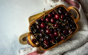 Picture cherry, berries, fabric, basket, cherry, basket