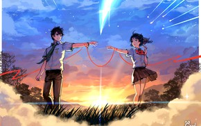 Picture girl, clouds, sunset, the evening, art, comet, pair, guy, Your Name, Kimi No VA On