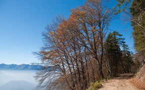 Picture road, autumn, the sky, mountains