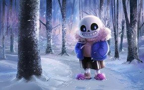 Picture winter, forest, the game, art, skeleton, Undertale, Undertail