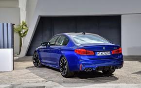 Picture blue, wall, pavers, BMW, back, sedan, BMW M5, 2017, M5, F90