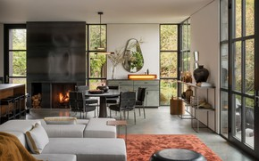 Picture interior, kitchen, living room, dining room, by Olson Kundig, False Bay Residence