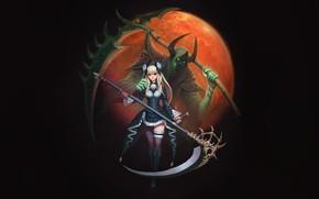 Picture Girl, Moon, Fantasy, Art, Style, Death, Illustration, Minimalism, Reaper, Figure, Scythe, Character, Hyeon Gwan Nam