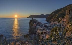 Picture sea, sunset, Italy, Vernazza, Liguria