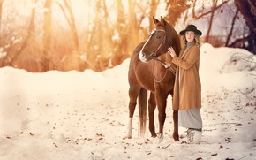 Picture winter, girl, horse