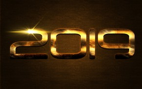 Picture figures, New year, gold, New Year, 2019