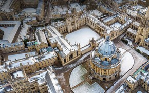 Picture winter, England, panorama, Oxford