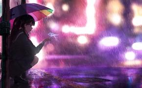 Picture umbrella, rain, Schoolgirl, neon lights, school girl