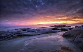 Picture sea, wave, beach, summer, the sky, sunset, stones, shore, summer, beach, sky, sea, sunset, pink, …