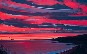 Picture Nature, Clouds, Sea, Figure, Shore, Heaven, Art, Aenami, by Aenami, Alena Aenam The, by Alena …