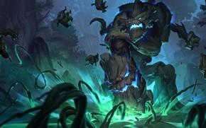 Picture forest, night, wood, Maokai, Legends of Runeterra