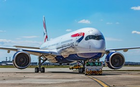Picture The plane, Liner, Airbus, British Airways, Airbus A350-900, Chassis, A passenger plane, Airbus A350 XWB