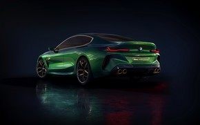Picture background, coupe, BMW, side, rear view, dark, 2018, M8 Gran Coupe Concept