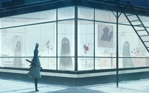 Picture winter, girl, snow, death, blood, ears, ghosts