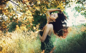 Picture girl, light, nature, pose, model, garden, brunette, beautiful, Marketa Novak