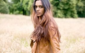 Picture girl, long hair, beautiful, model, pretty, brunette, jacket