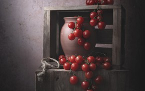 Picture the dark background, wall, food, rope, red, pot, still life, box, tomatoes, a lot, on …