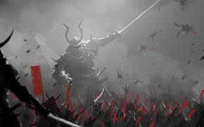 Picture fantasy, soldiers, armor, war, army, weapons, digital art, artwork, giant, Samurai, swords, fantasy art, spears, …