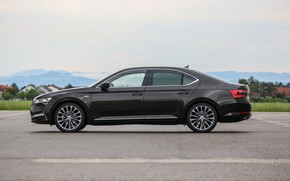 Picture sedan, side view, Skoda, Skoda, four-door, Superb, 2020, the color is a dark unfiltered beer