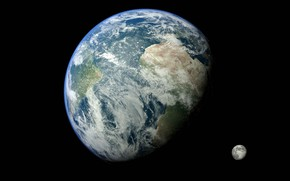 Picture space, earth, the moon, the world, planet