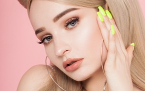 Picture look, girl, face, eyelashes, nails, manicure, Kim Petras