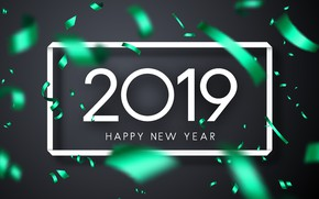 Picture background, frame, figures, New year, tinsel, 2019