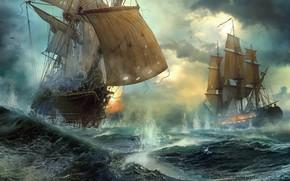 Wallpaper ships, duel, sea battle, Duel, Vladimir Manyukhin